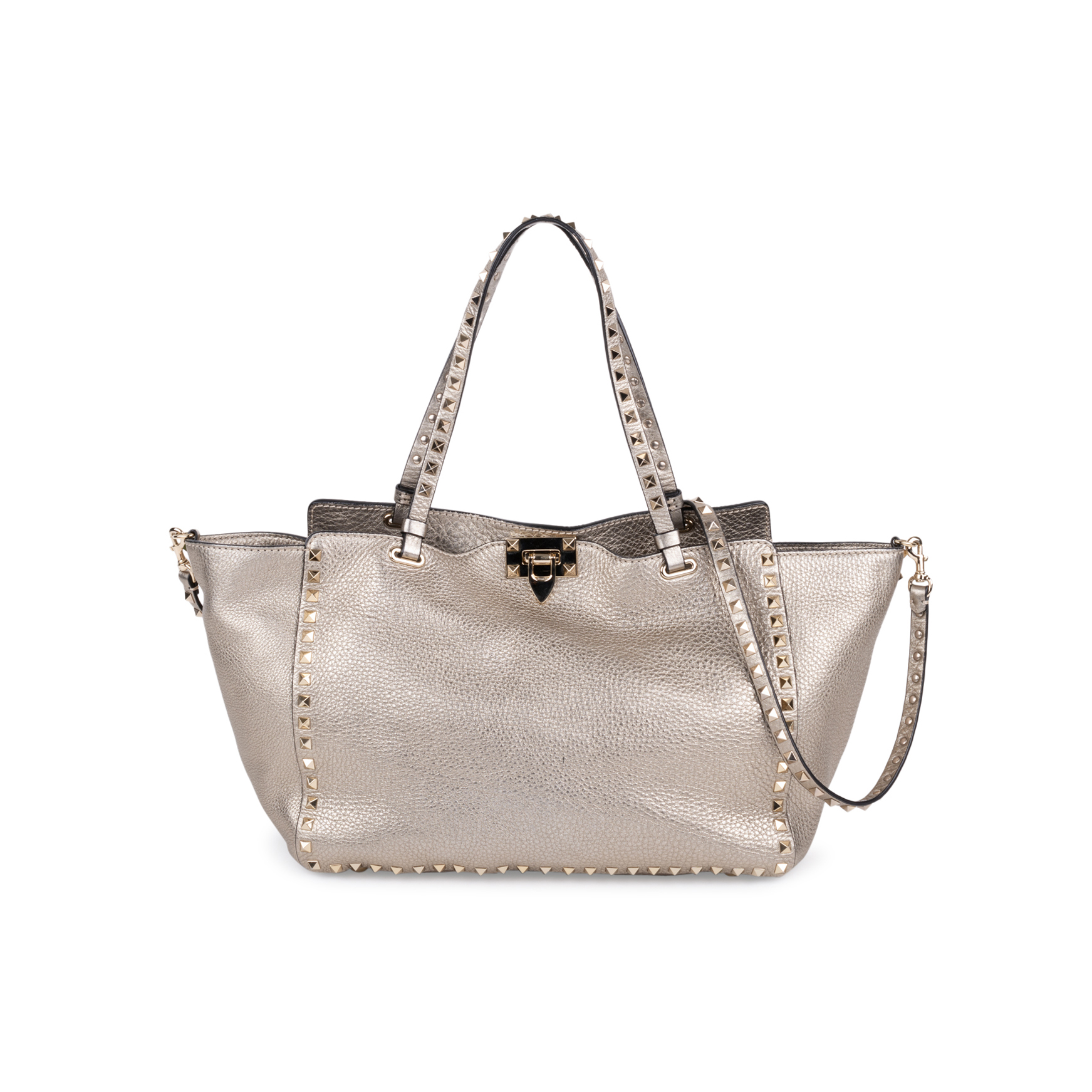 ac95a8e6f04 Authentic Second Hand Valentino Silver Rockstud Medium Tote Bag  (PSS-097-00132) - THE FIFTH COLLECTION