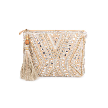 Authentic Second Hand Star Mela Mukti Embroidered Clutch (PSS-097-00142)