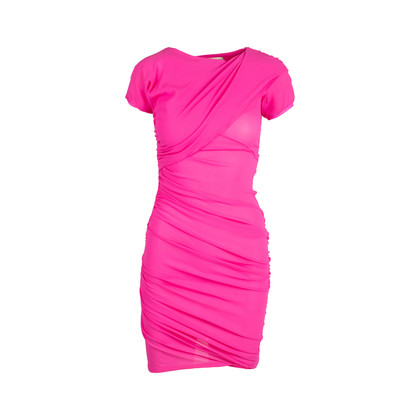 Authentic Second Hand Balenciaga Silk Ruched Fuschia Dress (PSS-049-00059)
