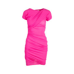 Silk Ruched Fuschia Dress