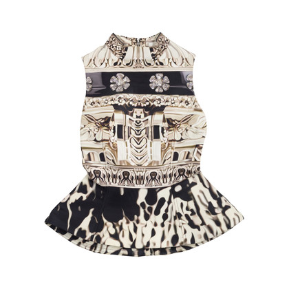 Authentic Second Hand Mary Katrantzou Jacquared Structured Peplum Top (PSS-049-00060)