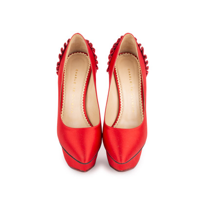 Authentic Second Hand Charlotte Olympia Paloma Fan Pleat Satin Pumps (PSS-049-00068)