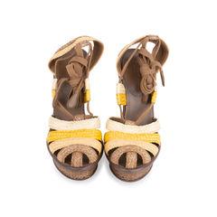 Raffia Ankle Wrap Platform Sandals