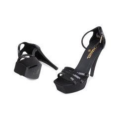 Chanel black sequinned sandals 2?1548842303