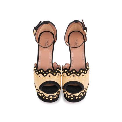 Authentic Second Hand Azzedine Alaïa Studded Raffia Wedge Sandals (PSS-049-00074)