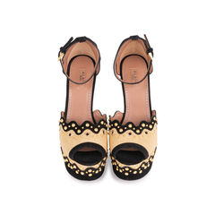 Studded Raffia Wedge Sandals