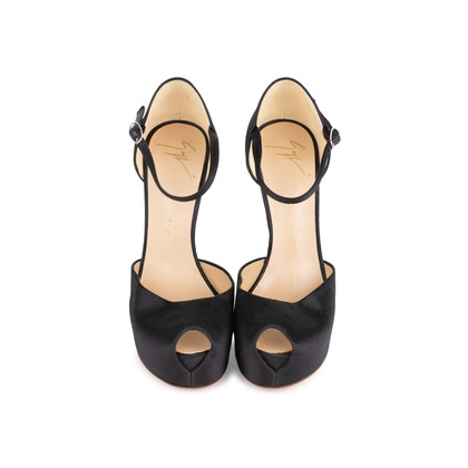 Authentic Second Hand Giuseppe Zanotti Black Satin Sandals (PSS-049-00077)
