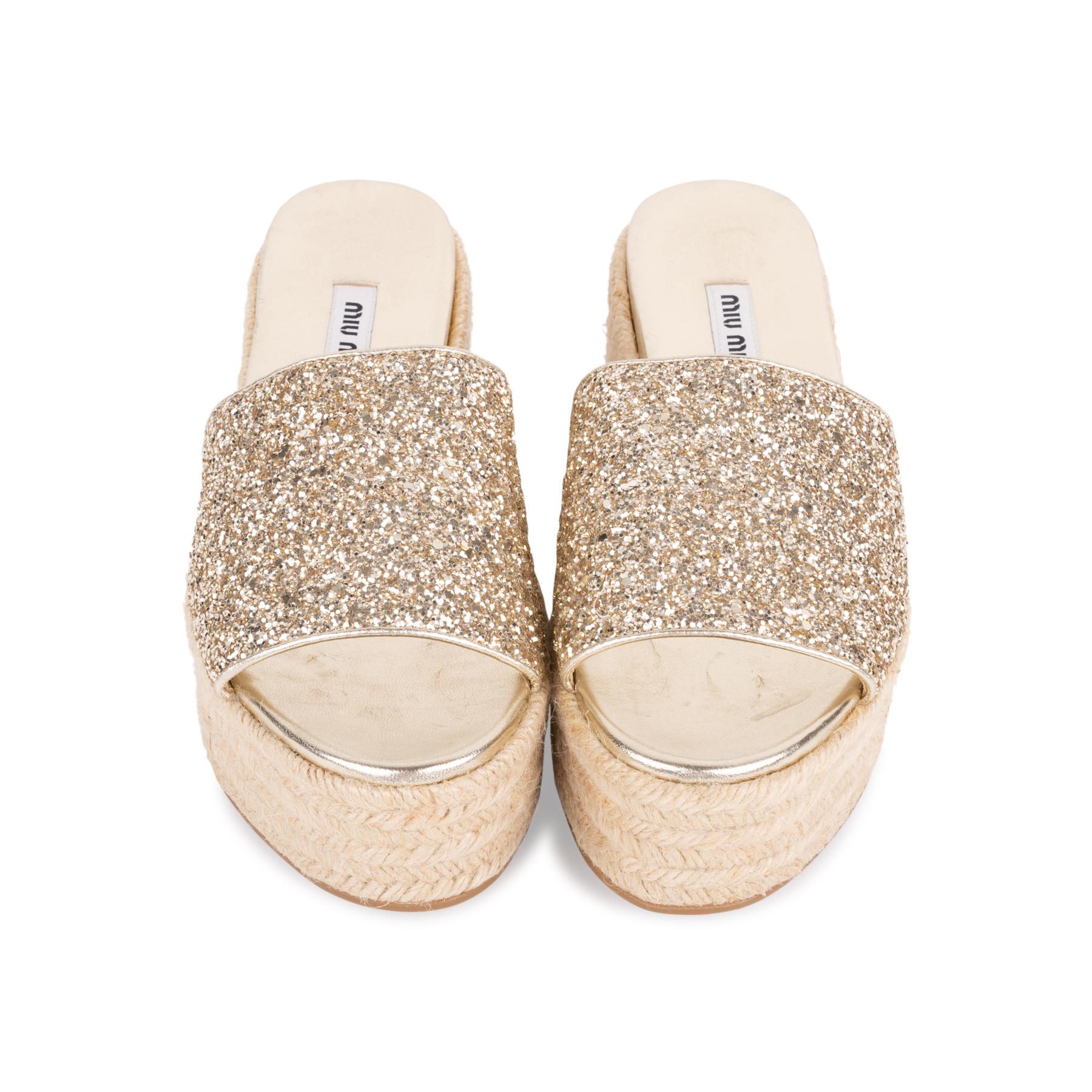 5286bed2264 Authentic Second Hand Miu Miu Glitter Platform Espadrille Sandals  (PSS-049-00078)