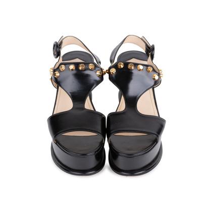 Authentic Second Hand Prada Black Platform Sandals (PSS-049-00084)