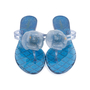 Authentic Pre Owned Chanel Blue Camellia Thong Sandals (PSS-049-00085) - Thumbnail 0
