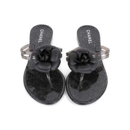 Authentic Second Hand Chanel Black Camellia Thong Sandals (PSS-049-00086)