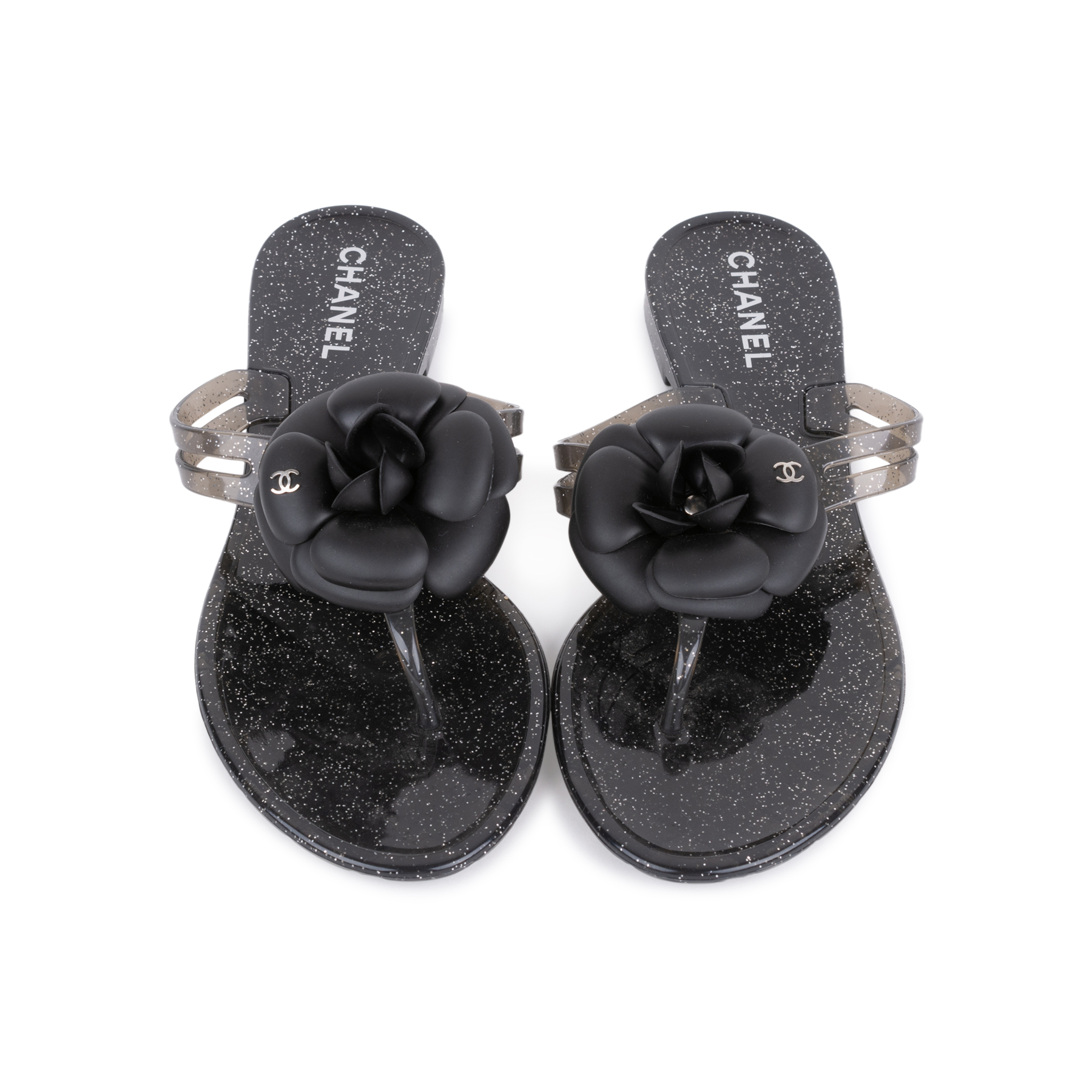 326f29f0ddb Authentic Second Hand Chanel Black Camellia Thong Sandals (PSS-049-00086)