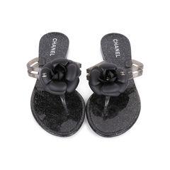 Black Camellia Thong Sandals
