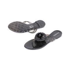 Chanel black camellia thong sandals 2?1548843337