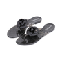 Authentic Second Hand Chanel Black Camellia Thong Sandals (PSS-049-00086) - Thumbnail 3