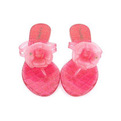 Authentic Pre Owned Chanel Pink Camellia Thong Sandals (PSS-049-00087)