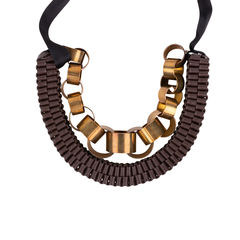 Metal Rings and Leather Ribbon Necklace