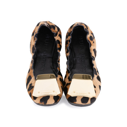 Authentic Second Hand Burberry Gold Plaque Leopard Flats (PSS-586-00002)