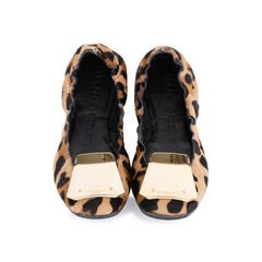 Gold Plaque Leopard Flats