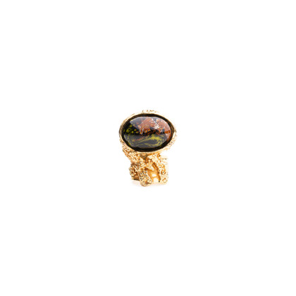Authentic Pre Owned Yves Saint Laurent Black Marbled Arty Oval Ring (PSS-029-00038)