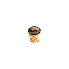 Black Marbled Arty Oval Ring