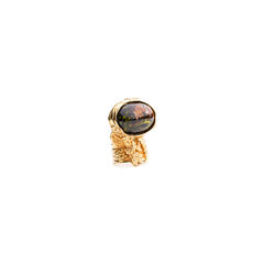 Yves saint laurent black marbled arty oval ring 2?1548926998