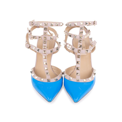 Authentic Second Hand Valentino Blue Rockstud Cage Pumps (PSS-200-01618)