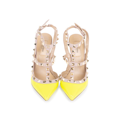 Authentic Second Hand Valentino Yellow Rockstud Slingback Pumps (PSS-200-01619)