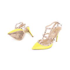 Valentino yellow rockstud slingback pumps 2?1548927752