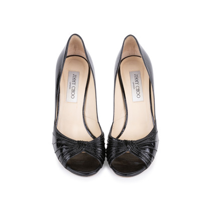 Authentic Second Hand Jimmy Choo Distressed Patent Peep Toe Pumps (PSS-506-00030)
