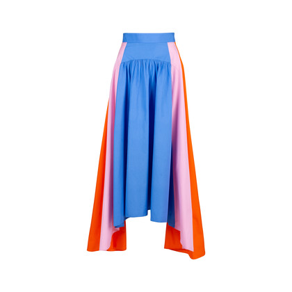 Authentic Second Hand Peter Pilotto Colour Block Cotton Skirt (PSS-414-00019)