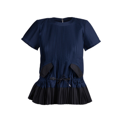 Authentic Second Hand Sacai Navy Pleated Top (PSS-414-00021)