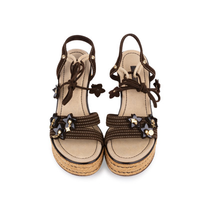 Authentic Pre Owned Louis Vuitton Lace Up Wedge Sandals (PSS-099-00024)
