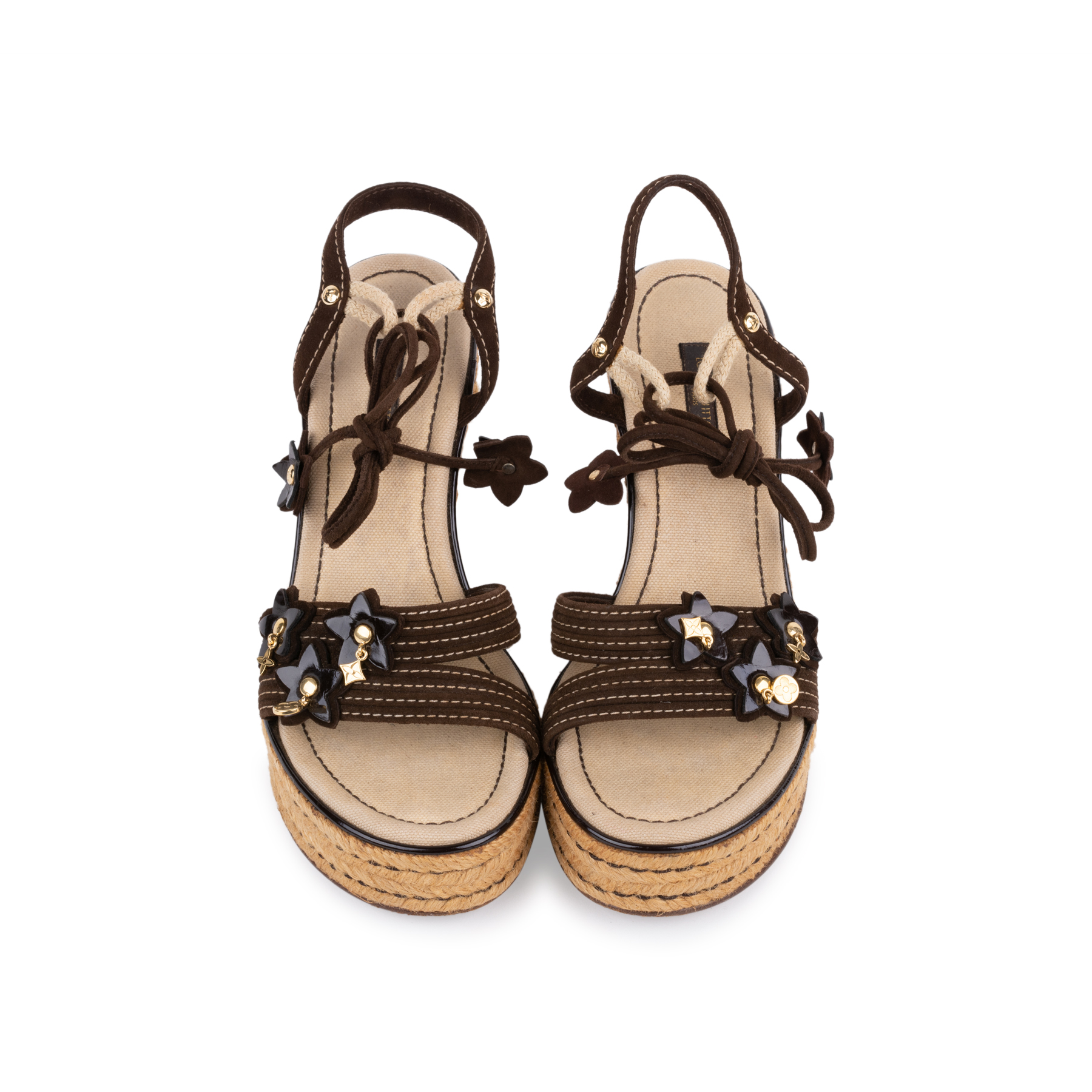 7aab1adfa86d Authentic Second Hand Louis Vuitton Lace Up Wedge Sandals (PSS-099-00024)