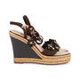 Authentic Pre Owned Louis Vuitton Lace Up Wedge Sandals (PSS-099-00024) - Thumbnail 4