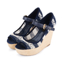 Authentic Second Hand Louis Vuitton Crochet Striped Espadrille Wedges (PSS-099-00025) - Thumbnail 3
