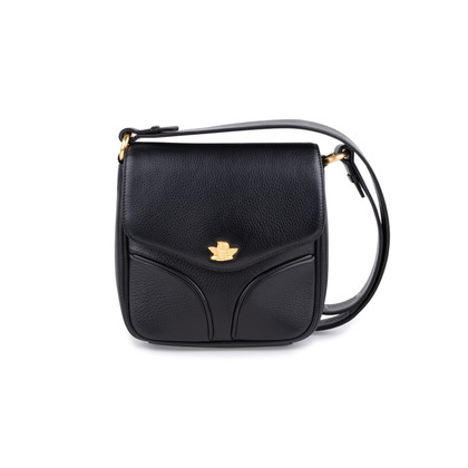 Authentic Pre Owned Comtesse When Angels Travel Black Sling Leather Satchel Bag (PSS-099-00028)