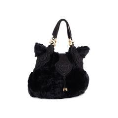 Shanghai tang fur shoulder bag black 2?1549525996