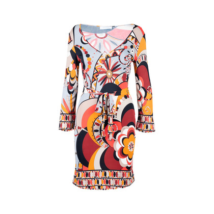 Authentic Pre Owned Emilio Pucci Low Cut Graphic Print Dress (PSS-097-00066)
