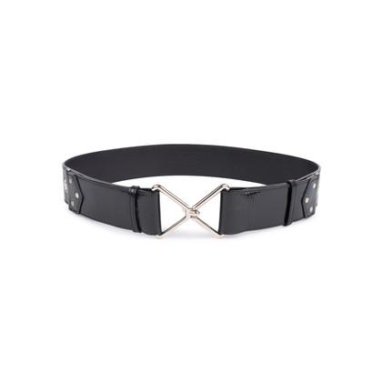 Authentic Second Hand Yves Saint Laurent Patent Hook Rivet Belt (PSS-034-00027)