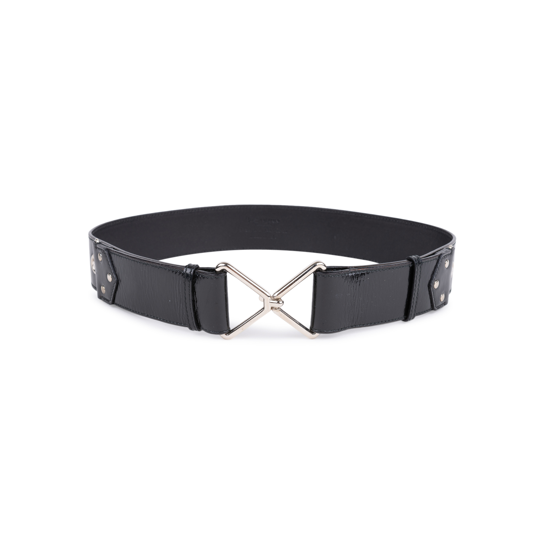 3a3fade03c13 Authentic Second Hand Yves Saint Laurent Patent Hook Rivet Belt  (PSS-034-00027)