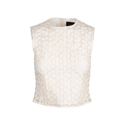Authentic Second Hand Simone Rocha Floral Embroidered Mesh Blouse (PSS-034-00038)