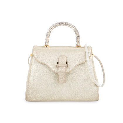 Authentic Second Hand Judith Leiber Crystal Embellished Top Handle Suede Bag (PSS-111-00004)