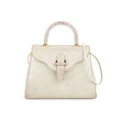 Crystal Embellished Top Handle Suede Bag