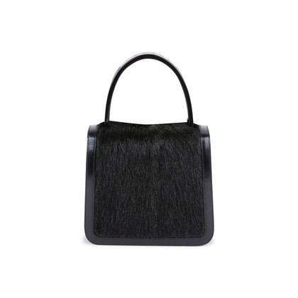 Authentic Second Hand Céline Resin Handle Fur and Patent Handbag (PSS-613-00011)