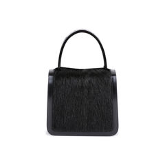 Resin Handle Fur and Patent Handbag