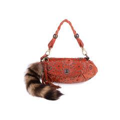 Raccoon Fur Tail Shoulder Bag