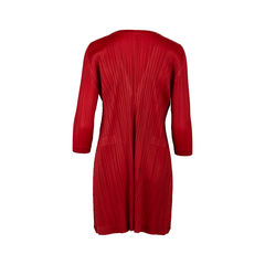 Pleats please red deep v pleated tunic dress 3?1550472562