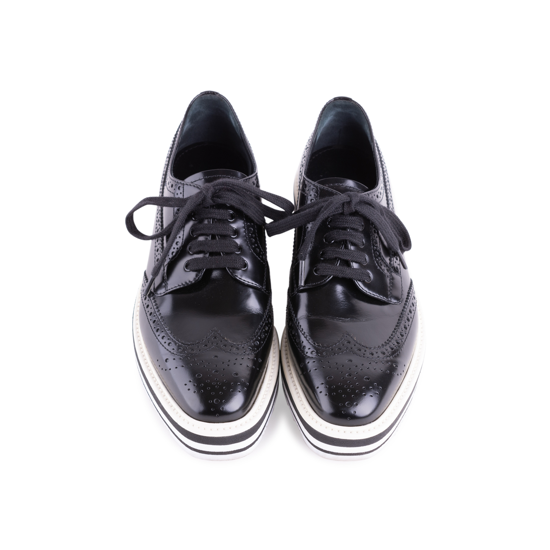 b7899e03a758 Authentic Second Hand Prada Leather Platform Brogues (PSS-607-00001 ...