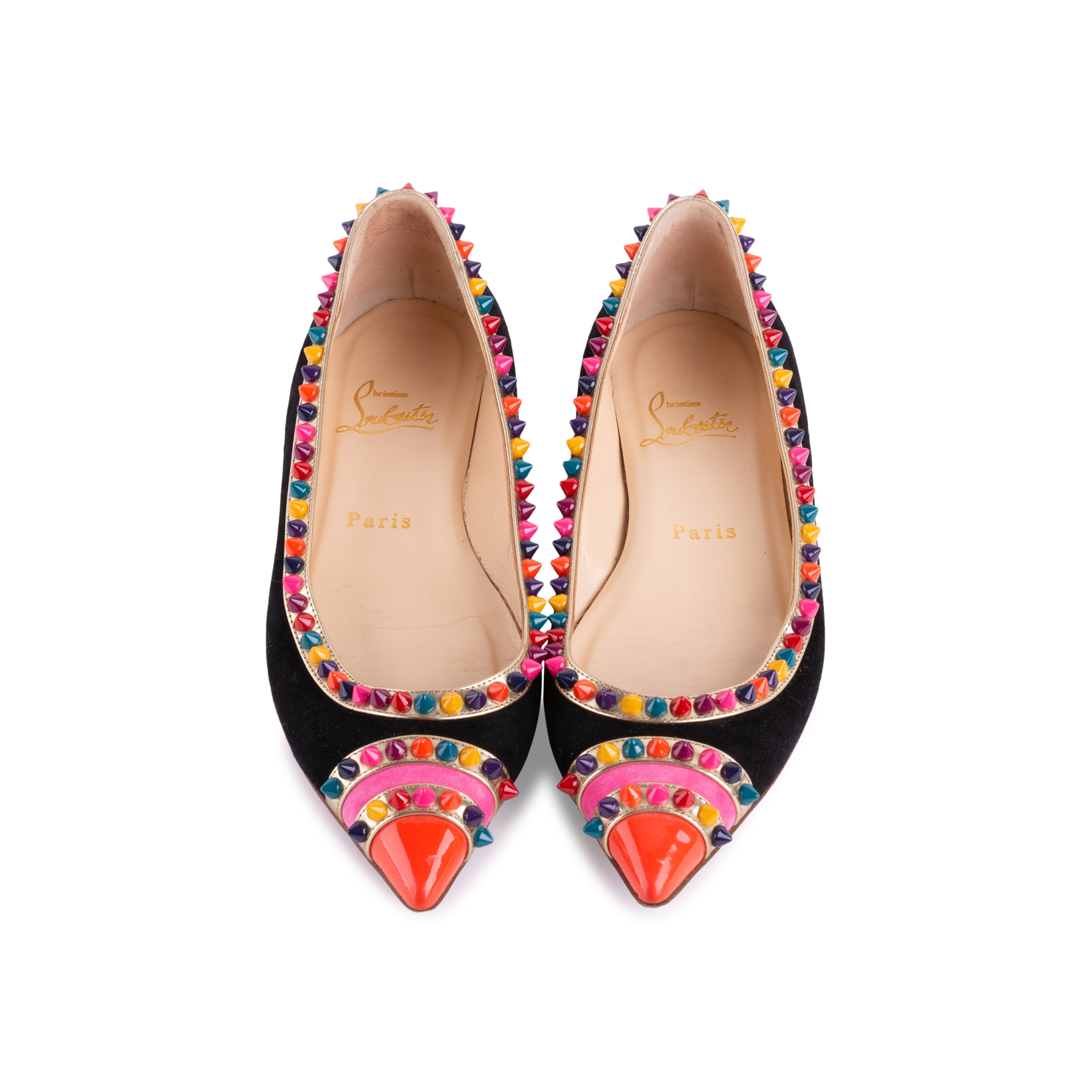 23ae2fac3af Authentic Second Hand Christian Louboutin Malabar Spike Flats  (PSS-607-00003)